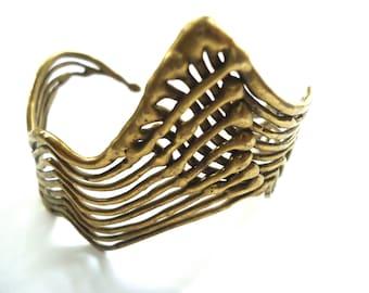 Unusual Handmade Brass Cuff Bracelet, 1960s 1970s Abstract Bracelet, Modernist Style, One of a Kind Artisan Jewelry, Unique Lightweight Cuff