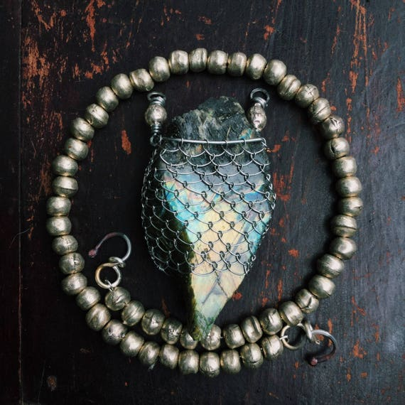 Northern Lights - Labradorite and Ethiopian white metal bead necklace