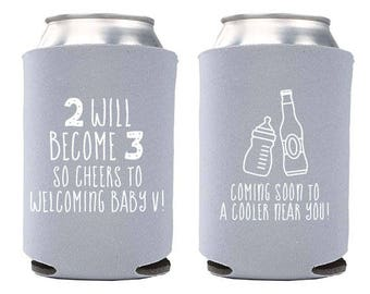 Custom Baby Announcement Can Cooler - Cheers to Baby Can Cooler