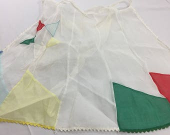 50's Sheer Organza Half Apron Red Green Yellow With Star & Rick Rack