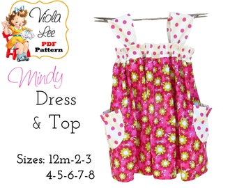 Mindy Toddler Dress Pattern, Girl's Sewing Pattern. Girl's Top Pattern,  Dress and Top pdf Pattern included. Girl's Dress Sewing Pattern