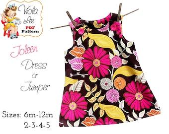 Joleen, Girls Jumper Sewing Pattern, Girl's Dress Pattern, pdf Dress Pattern, Aline Dress Pattern, Baby Dress Sewing Pattern. Toddler Dress