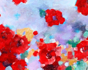 "Colorful Abstract Floral Painting, Intuitive, Gestural Expressive Work on Canvas ""Red Rose Joy"" 12x24"""