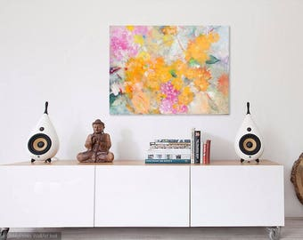 """Large Abstract Floral, Gesturla Abstract, Colorful Flowers, Painting on Canvas """"Nostalgia"""" 30x40"""""""