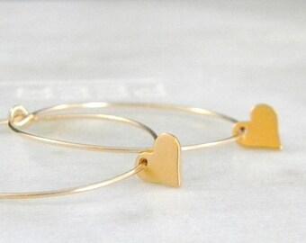 SALE Gold Hoop 14kt Gold Fill Heart Earrings