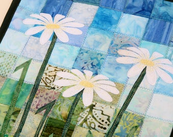 Batik Daisy Quilted Wall Hanging / Art Quilt, by PingWynny