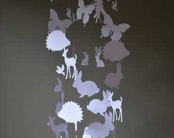Spring animal nursery mobile or baby mobile made from white card stock -- Spring animal mobile, babygift, bambi, bunny or butterflies
