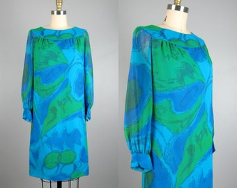 Vintage 1960s Printed Chiffon Dress 60s Blue and Green Abstract Print Cocktail Dress Size S