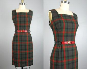 Vintage 1960s Plaid Dress 60s Nancy Drew Red and Green Cotton Plaid Sheath Dress by Miss Pat Size M
