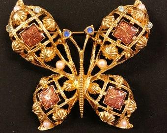 Vintage Avon Butterfly Gold Tone Enameled Pin Brooch 80s
