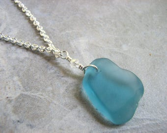 Long Sea Glass Necklace, Aqua Blue Seaglass Jewelry, 26 inch Beaded Pendant Necklace, Beach Glass Necklace, Ocean Jewelry