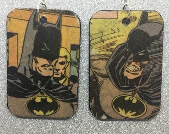 Upcycled Vintage Batman Comic Book Earrings