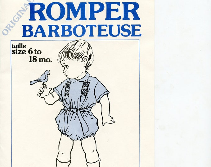 Original Romper Pattern / Classic Baby Boy Style / Smocking / Snaps at the crotch / Belt / by Grace Knott