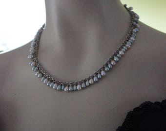 """Vintage Sterling Silver and  Fresh Water Pearl Necklace Signed """"PEY"""""""