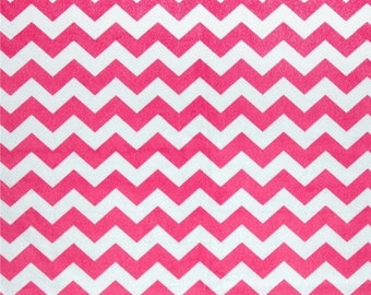 "ON SALE 2"" Large Chevron Minky, Hot Pink Minky, 1 Yard Fabric"