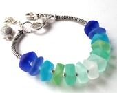 G's CUSTOM ORDER.Multi Colored  Sea Glass Bracelet Bold  Chunky Jewelry with charms,Mermaid Bracelet  handmade by Lyrisgems