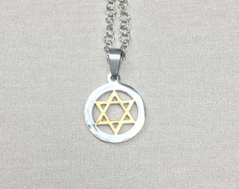 Star of David  stainless steel pendant hexagram  mens womens necklace Steel Chain Silver and Gold Pendant