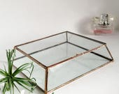 Glass Box Glass Display Box Glass Wedding Card Box Clear Glass Jewelry Box Truncated Pyramid Box