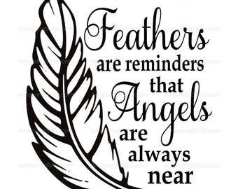 SVG - Feathers are Reminders - Memorial svg - Tile SVG - Ornament svg - Christmas svg - Angel svg - feather svg - tshirt svg - sympathy svg