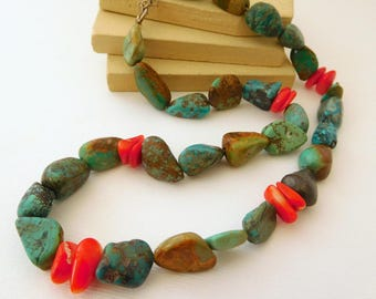 Retro African Turquoise Bead 925 Sterling Silver Clasp Necklace