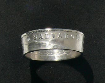 Mens El Salvador 10 Centavos Coin Ring, Ring Size 10 1/2 and Double Sided