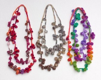 Multicolor long necklace, statement fiber jewelry, crochet wool necklace, OOAK