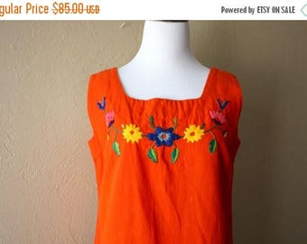 Clearance Sale Vintage Bright Orange Mexican Embroidered Sun Dress