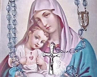 """Pretty Vintage Sky Blue Rosary-""""Lourdes"""""""