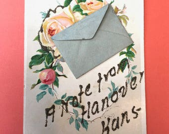 Sweetest Little Edwardian Postcard with Pink Roses and Attached Miniature Envelope