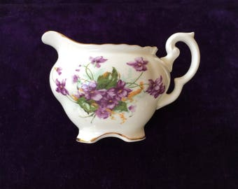 Violets-Pretty Little English Bone China Cream Pitcher with Hand Painted Violets