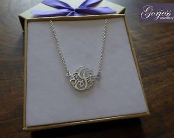 Silver Monogram Pendant - Handmade Necklace - Monogram Jewellery - Silver Name Pendant - Handmade Monogram