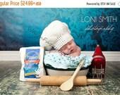 SUMMER SALE Baby White Chef Hat - Crochet Newborn NB Beanie Boy Girl Costume Halloween  Photo Prop Cap Winter Outfit