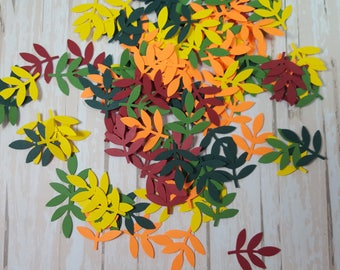 50 Mixed Fall Fern Leaf punch die cut confetti scrapbook embellishments, Mix and Match