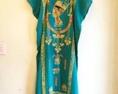 RESERVED: Vintage 80s egyptian Teal Caftan Dress + Pharaoh Earring