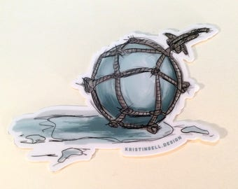 Ocean/Beach Glass Ball Die Cut Vinyl Sticker Durable and Weatherproof