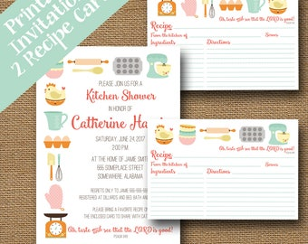 Printable Kitchen Shower Invitation and Recipe Cards Combo Pack | Cute Retro Kitchen Recipe Shower | DIY PRINTABLE | Christian Bridal Shower
