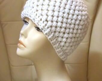 Sparkle Puff Beanie Hat, Puff Stitch Hat, Sparkle Beanie Hat, White Hat, Textured Hat, FREE UK DELIVERY