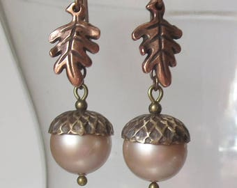 Powdered Almond Acorn Earrings with Brass Caps and Antique Copper Oak Leaves