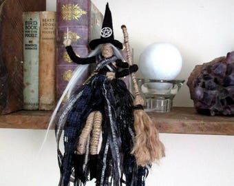 Handmade Positively Pagan Wiccan Hecate Witch crone Poppet Doll.  Kitchen Witch.
