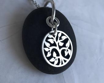 petite beach stone tree of life necklace, Kennebunk beach stone necklace, Maine beach stone necklace, tree of life necklace, beach stone