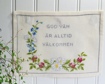 Small wallhanging embroidery , vintage Swedish welcome sign, seventies home decor