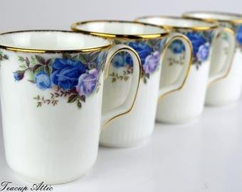Set of 4 Royal Albert Moonlight Rose Coffee Mugs, English Bone China Mugs, ca. 1987