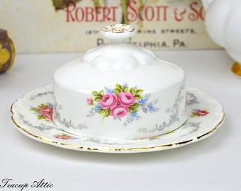 Royal Albert Tranquility Butter Dish, English Bone China Vintage Butter Dish, ca. 1969