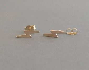 Lightening Bolt Post Earrings Gold Fill or Sterling Silver