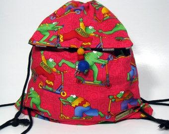 Drawstring Child's Backpack, Frog Bag, Cinch Sack, Child's book bag OOAK Lightweight Carry-all Toddler back pack