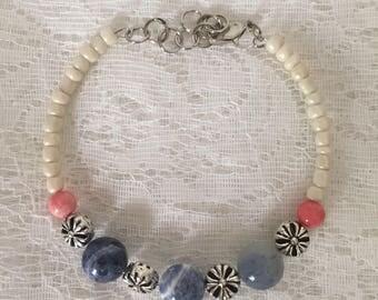 Sodalite Beaded Memory Wire Bracelet
