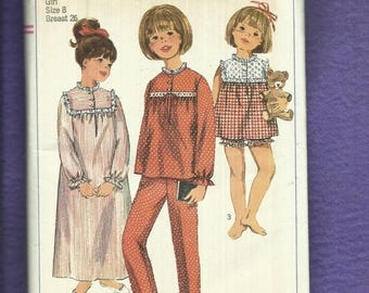15% OFF SALE Vintage 1966 Simplicity 6815 Summer & Winter Time Pajamas and  Nightgown for Little Girls Size 8