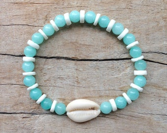 shell bracelet, aqua mermaid jewelry, beach bracelet, boho jewelry