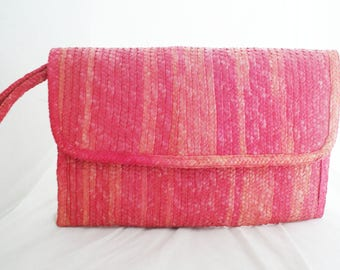 Wristlet - Oversize Pink Straw Summer rectangular clutch by BagsWorld