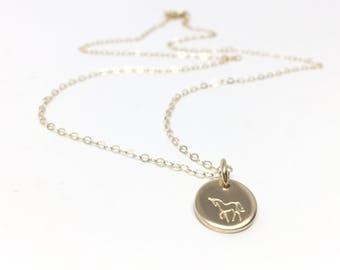 Tiny Unicorn Necklace // Gold Filled